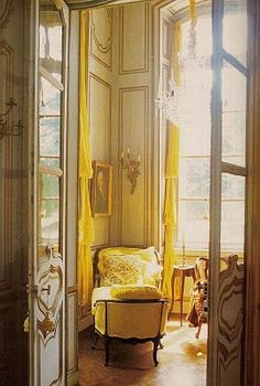 My room could not look like this, but I love the warm, light hues, and the happy canary yellow!  Would like to finish my room this year.