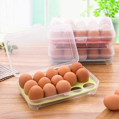 15 cells Egg Portable Refrigerator Fresh Box Storage Container Case Wild Storage Box Multifunctional Eggs Crisper Kitchen #Affiliate
