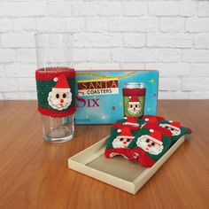 Santa Coasters Drink Koozies, Dan Dee Imports | Mid Century Retro Christmas Party Barware | Boxed Set of 6 by FireflyVintageHome on Etsy