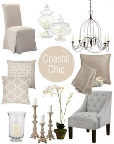 Coastal Chic: this might be my style along with some French country touches. - Nenin Decor - Hampton Style - Coastal Chic: this might be my style along with some French country touches… – Nenin Decor - Coastal Living Rooms, Living Room Decor, Dining Room, Dining Chairs, Estilo Hampton, Hamptons Decor, Ideias Diy, Beach House Decor, Home Decor