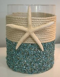 Aqua Seashell Coastal Candleholder - Make this with a clear vase, glitter, a seashell and nautical nylon twine