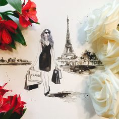 Chanel in Paris Fashion Illustration  Print from by LanasArt