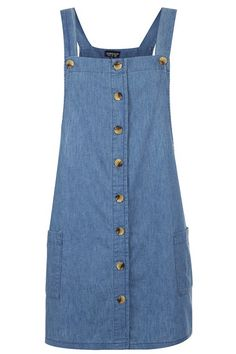 Topshop Button Front Denim Jumper available at Jumper Outfit, Denim Outfit, Jeans Moto, Mode Jeans, Denim Pullover, Denim Jumper, Denim Pinafore, Pinafore Dress, Denim Outfits