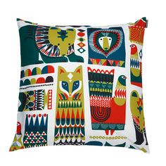 Bring an unconventional mix of cultural influences into your home; this vibrant and playful pattern was inspired by Karelian heritage, totems and Eastern aesthetics. Marimekko Kukkuluuruu Multicolor Throw Pillow