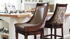 Kent Swivel Bar and Counter Stools High Back Bar Stools, Counter Stools With Backs, Counter Bar Stools, Leather Swivel Bar Stools, Swivel Chair, Neoclassical Design, Traditional Dining Tables, Tuscany Decor, Overstuffed Chairs