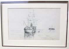 Henri de Toulouse Lautrec Orig Pencil Drawing Boats Bateaux 1879