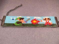 Mario VS Link - Beaded Bracelet. $14.00, via Etsy.