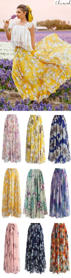 Shop www.chicwish.com and get up to 30% off. Free Shipping & Easy Return   Flower Season Chiffon Maxi Skirt featured by Larisacostea