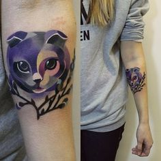 This really cute Scottish Fold kitty: | The 26 Coolest Animal Tattoos From Russian Artist Sasha Unisex