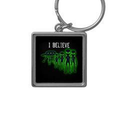I believe UFO and Aliens Keychain - accessories accessory gift idea stylish unique custom