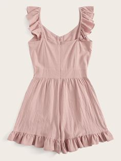Ruffle Hem Zip Back Romper Everyday Casual Outfits, Cute Casual Outfits, Pretty Outfits, Stylish Outfits, Girls Fashion Clothes, Teen Fashion Outfits, Girl Fashion, Clothes For Women, Rompers For Teens