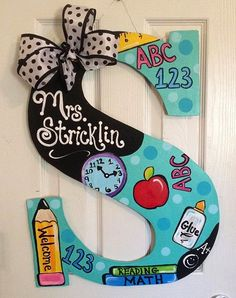Teacher letter door hanger 2 foot tall and vibrantly painted! Teacher Door Decorations, Teacher Door Hangers, Letter Door Hangers, Teacher Wreaths, Teacher Doors, Teacher Signs, Classroom Wreath, Classroom Decor, Arts And Crafts For Teens