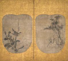 曽我Nichokuan (曽我二直庵 ; 。FL 17世紀半ば)  オークツリー上の道教不滅とホーク