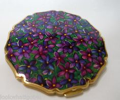Vintage STRATTON Enameled Indigo Clematis Floral Compact.