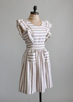 Vintage 1940s Cotton Pinafore Sundress