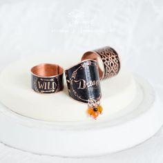 Купить Медные бохо кольца, набор черных колец с камнями - агат, этническое