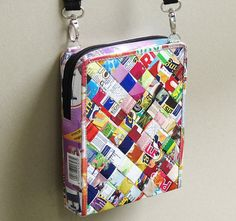 Small crossbody bag using candy wrappers - Free standard shipping - Upcycling by Milo ** Find out more details by clicking the image Gift Wrapper, Candy Wrappers, Paper Purse, Magazine Crafts, Shoulder Sling, Sustainable Gifts, Diy Purse, Handmade Handbags, Small Crossbody Bag