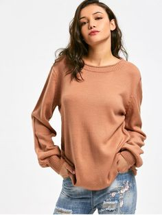 Long Sleeve Oversized Pullover Sweater - ORANGE BROWN ONE SIZE