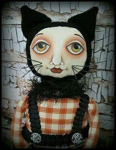 Black Cat (Hip Heart Studio)Folk Art Halloween Primitive