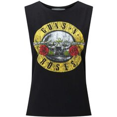 Miss Selfridge Guns N Roses Vest (140 BRL) ❤ liked on Polyvore featuring tops, shirts, band shirts, blusas, black, vest shirt, rose tank top, dropped armhole tank, scoop neck shirt and vest tops