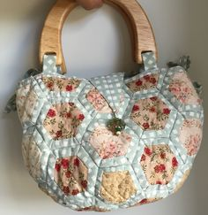 Covered hexagons Bag using assorted  scrap fabrics.