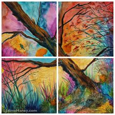"""Four panels make up this unique painting titled Patchwork Sky. This 12""""x12"""" print is unique and will add character and color to any room in your home."""