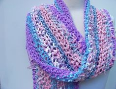 Beautiful Lightweight Crochet Ribbon Scarf  Pink Lilac by Sewstacy, $32.00