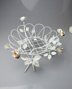Shabby Chic White Metal Basket with Metal Roses Romantic by YWart