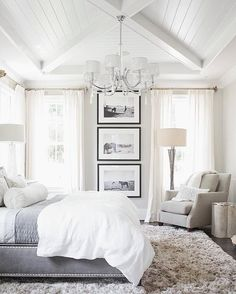 Wonderful Vaulted Ceiling Design In White Theme Bedroom