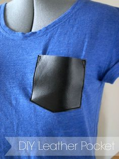 DIY Leather Pocket! All you need is some faux leather, scissors, needle/thread, and the secret ingredient: baby powder!