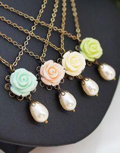 Gift Set of 4 Rose Flower Cabochon