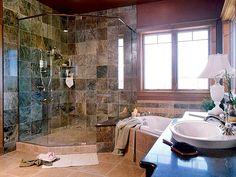 Corner shower, corner tub