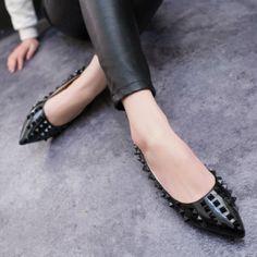 Womens Shoes PU 3D Diamond Decor Boat Shoes Flat Heel Angled Toe Platform Stiletto Sandals  T769Z