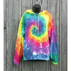 Adult Rainbow Tie Dye Hoodie Available Sizes S M L Xl Hippie... ($48) ❤ liked on Polyvore featuring tops, hoodies, shirts, sweaters, sweatshirt, grey, unisex adult clothing, cotton pullovers, gray shirt and tie dye shirts