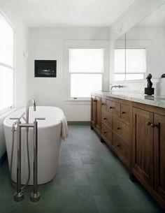 DCM Designs - bathrooms - contemporary bathroom, tv niche, bathroom tv, tv in bathroom, bathroom tv niche, built in tv niche, double vanity,...