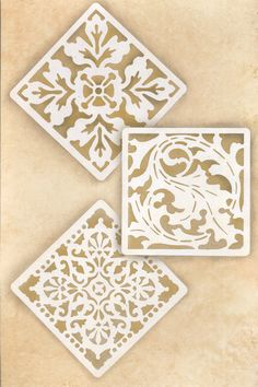 Decorate and paint a faux tile design or random wall art motifs with our Renaissance Tile Stencils Set B. These traditional European tile patterns coordinate with our Renaissance Tile Stencils Stencil