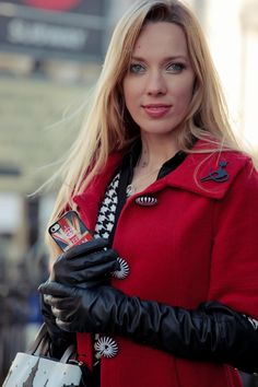 Long black leather gloves really dress up the red coat