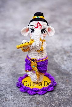 Lord Ganesha Kid Play flute Posture by Guichai on Etsy