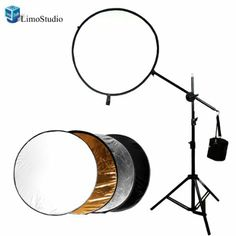 "LimoStudio Photo Reflector Arm and Support Stand Kit with 43"" inch 5-in-1 Collapsible Light Reflector Disc Panel, AGG802"