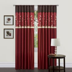 Potential Living Room Curtains - Cocoa Blossom Red 84 inch Curtain Panel Pair | Overstock.com
