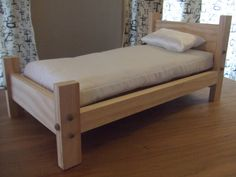 Doll Bed for American Girl or 18 inch Doll - Toy Doll Furniture - Transitional Style. $29.99, via Etsy.