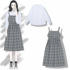 Adore these spring korean fashion. Korea Fashion, Asian Fashion, Teen Fashion, Ulzzang Fashion, Hijab Fashion, Fashion Drawing Dresses, Fashion Dresses, Mode Ulzzang, Fashion Design Sketches