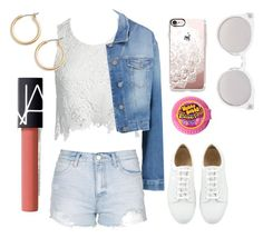 """""""Summer night out ☀️🌤"""" by fabfashionindya ❤ liked on Polyvore featuring Sans Souci, 7 For All Mankind, Topshop, Casetify, Kosha, Nordstrom and NARS Cosmetics"""