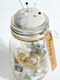 Gift a sewing supplies jar with a DIY pincushion lid!