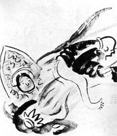 Zen Humor : Tianren Roasting the Buddha painting by Sengai Gibon, (1750-1837)