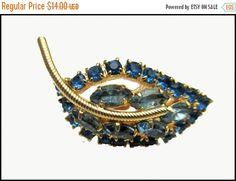 Blue Rhinestone Leaf brooch mid century gold blue