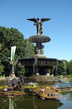 """In their 1858 Greensward Plan, Frederick Olmsted & Calvert Vaux called the architectural heart of the Park, ""The Water Terrace""...Once the 'Angel of the Waters' fountain was unveiled in 1873, however, the area became forever known as Bethesda Terrace. [It] was the only sculpture commissioned as part of the original design of the Park. The artist, Emma Stebbins, was the first woman to receive a commission for a major public work in New York City."" [text from National Historic Register…"