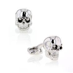 Cufflinks, Mechanical Skull, Sterling Silver