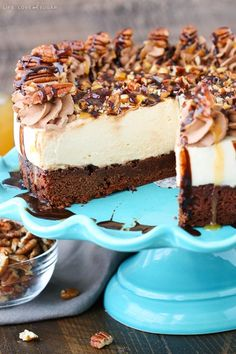 Turtle Brownie Cheesecake - brownie bottom, caramel cheesecake, and pecans! Perfect dessert for fall!