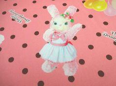 Japanese Fabric KOKKA Usaron Rabbit Polka Dots Pink by Cawaiimart